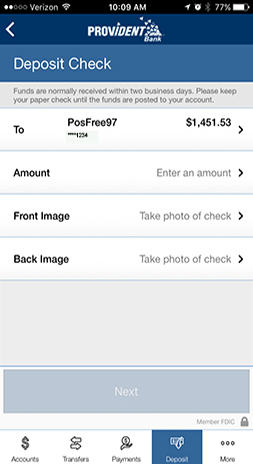 image of Mobile Banking Mobile Deposit page