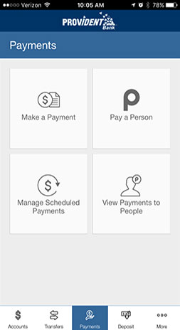 Image of Mobile Banking Payments Select Page