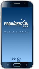 Graphic image of Mobile Phone with Provident Bank Logo and words Mobile Banking