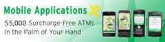 Image and Link for AllPoint mobile App reading Mobile Appliations, 55,000 surcharge-Free ATMs in the Palm of your hand