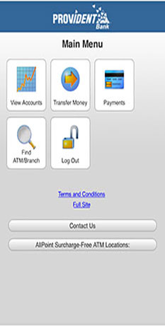Image of Mobile Banking Browser Main Ment page with options to select View Accounts, transfer money, payments, finds ATM/Branch Locaiton and Log Out
