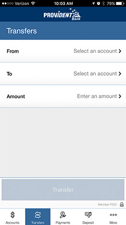 Image of Mobile Banking Transfer Money page